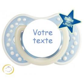 Tétine personnalisée night and day bleu douceur