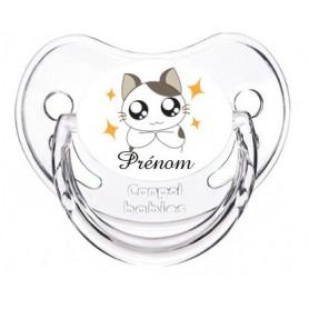 Tétine de bébé personnalisée chat et prénom