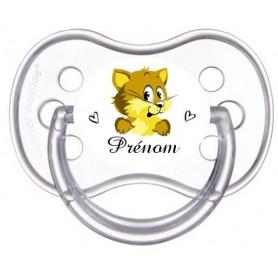 Tétine de bébé personnalisée souris jaune et prénom