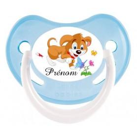 Tétine de bébé personnalisée chien fleur et prénom