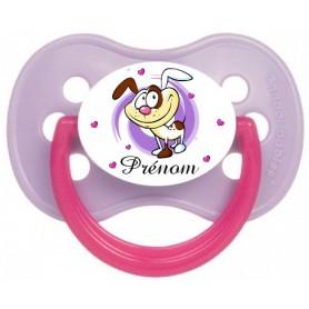 Tétine de bébé personnalisée chien violet et prénom