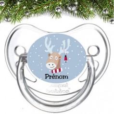 Tétine bébé personnalisée renne Noël