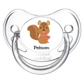 Tétine de bébé personnalisée écureuil froid et prénom