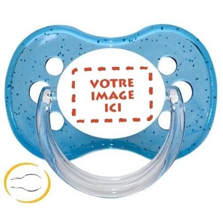 Tétine bébé  personnalisée photo symetrique paillette bleue