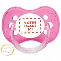Tétine bébé  personnalisée photo symetrique paillette rose