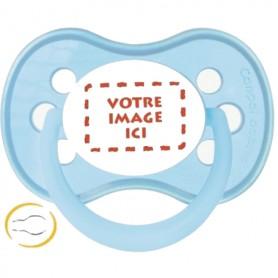 Tétine bébé  personnalisée photo Pastel bleue symetrique