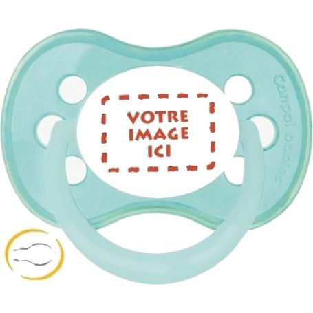 Tétine bébé  personnalisée photo Pastel verte symetrique
