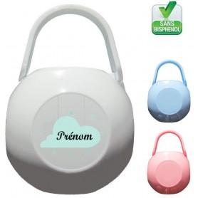 Boîte à tétine personnalisée Nuage vert Prénom