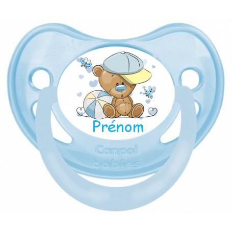 Tétine de bébé ourson casquette  personnalisée