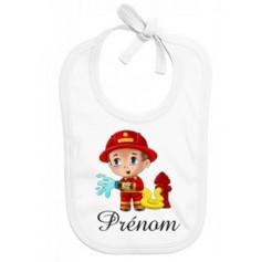 Bavoir personnalisé pompier prénom