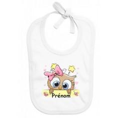 Bavoir bébé personnalisé hibou étoile fille prénom
