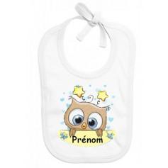 Bavoir bébé personnalisé hibou étoile garçon prénom