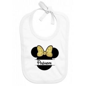 Bavoir bébé personnalisé silhouette souris doré prénom