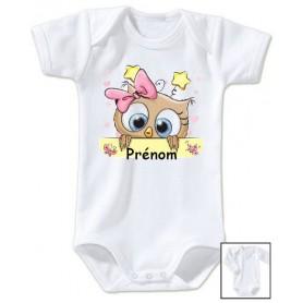 Body bébé personnalisé prénom hibou etoile rose