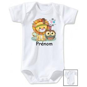 Body bébé personnalisé prénom hibou lion
