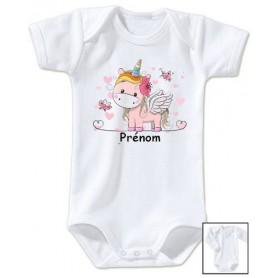 Body bébé personnalisé prénom licorne coeur