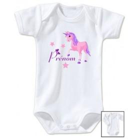 Body bébé personnalisé prénom licorne étoiles