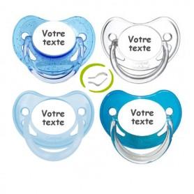 Lot de 4 tétines physiologiques garçon (bleu, paillettes, pastel, transparente)