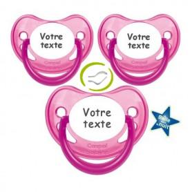 Tétines fille personnalisées fluorescentes (rose)