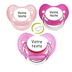 Tétines bébé personnalisées fille (pastel, rose,paillettes)