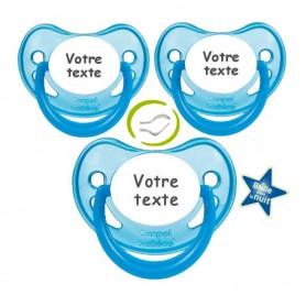 Tétines fille personnalisées fluorescentes (bleu)