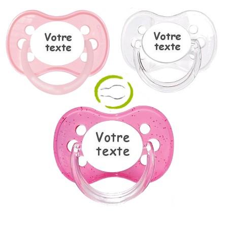 Tétines personnalisées fille anatomique (rose pastel, transparente, paillette)