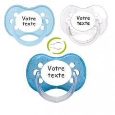 Tétines personnalisées garçon anatomique (pastel, transparente, bleu paillettes)