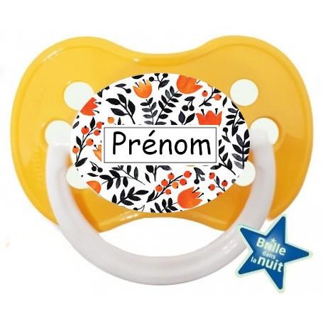 Tétine de bébé fleur oranger personnalisée