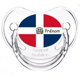 Tétine personnalisée drapeau république dominicaine et prénom
