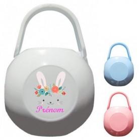 Boîte à tétine personnalisée lapin fleurs couronne
