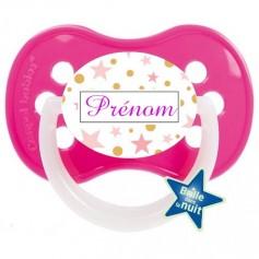 Tétine de bébé etoile rose personnalisée