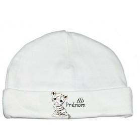 Bonnet de naissance personnalisé tigre blanc