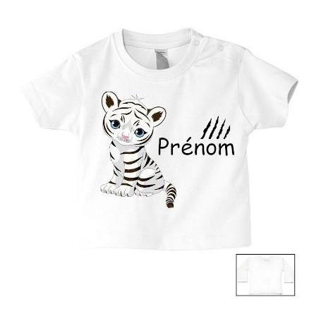 Tee-shirt de bébé tigre blanc personnalisé