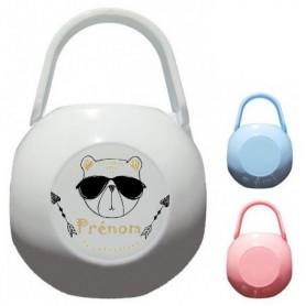Boîte à tétine personnalisée ourson lunette