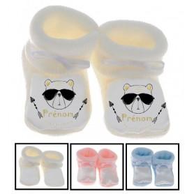 Chaussons bébé foot personnalisés ourson lunette
