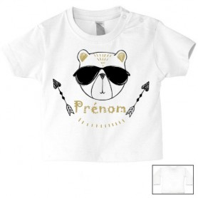 Tee-shirt de bébé ourson lunette personnalisé