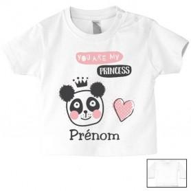Tee-shirt de bébé my princess panda personnalisé