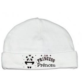 Bonnet de naissance personnalisé panda princesse