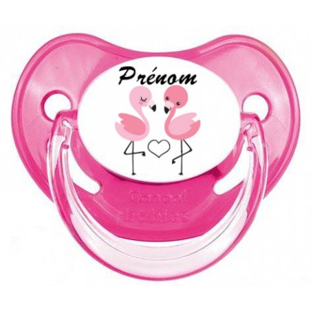 Tétine de bébé duo de flamant rose personnalisée