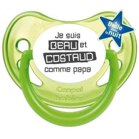 """Tétine bébé humour """"Je suis beau et costaud comme papa"""""""